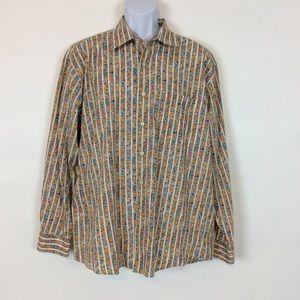 Alan Flusser Floral Cotton Button Down Shirt Sz XL